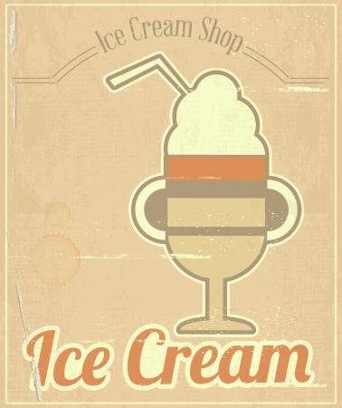 Ice Cream Dessert Vintage Menu Card in Retro Style.  illustration