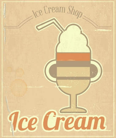 Ice Cream Dessert Vintage Menu Card in Retro Style.  illustration