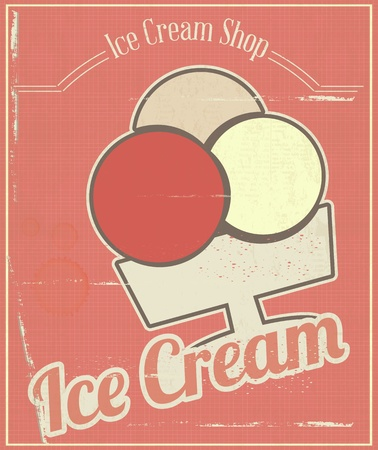 Ice Cream Vintage Menu Card in Retro Style.  illustration Vector