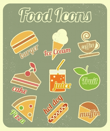 Set of Food Icons in Retro Vintage Style. Abbildung Illustration