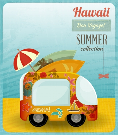 Hawaii Card. Bus on the Beach Vector