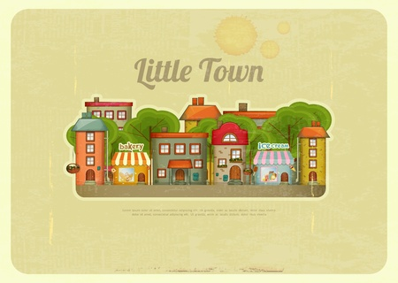 little town: Little Town. Townhouses in a retro Style Illustration