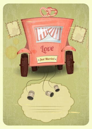 cartoon wedding couple: Just married. Wedding Card in Retro Style. Wedding Car. Place for Text