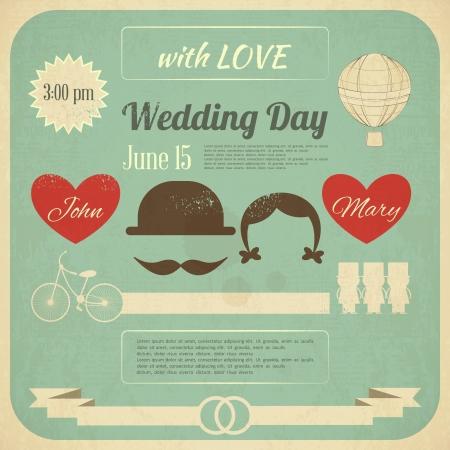 uitnodigen: Uitnodiging van het huwelijk in Retro Infographics Style. Vintage Design, vierkant formaat. Illustratie.