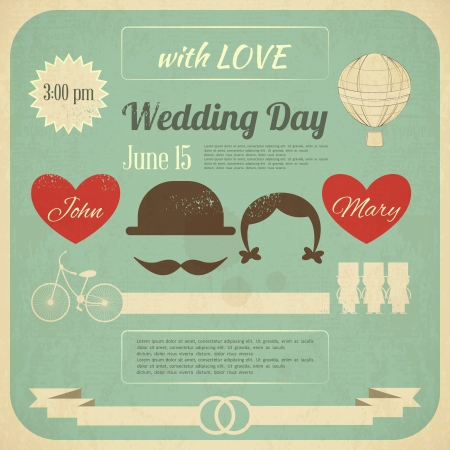 Wedding Invitation in Retro Infographics Style. Vintage Design, Square Format.  Illustration.
