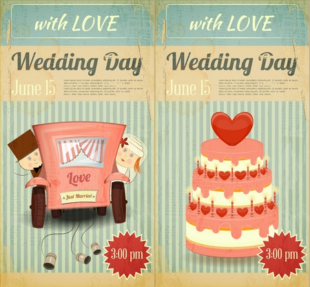 wedding cake: Set of Wedding Invitation in Retro Style. Vintage Design.  Illustration.