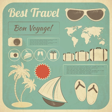 Summer Travel Card in retro Style. Vintage Vacation Postcard with Summer Items in Old Infographics Style. Illustration.