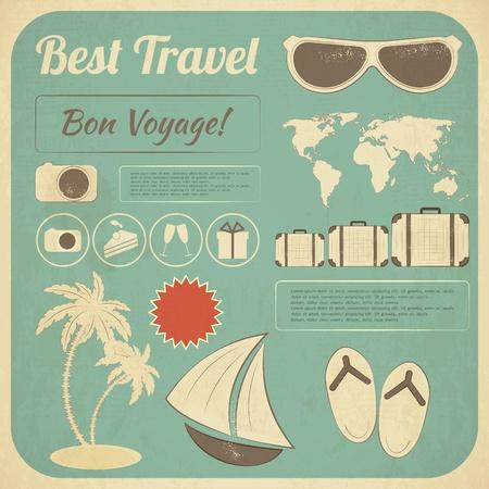 sandal tree: Summer Travel Card en el estilo retro. Tarjeta postal de vacaciones de verano vintage con elementos de Infograf�a Old Style. Ilustraci�n.