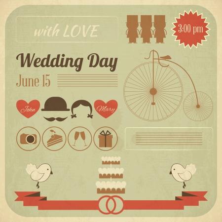 Wedding Day Invitation Card in Retro Infographics Style. Vintage Design, Square Format.  Illustration.