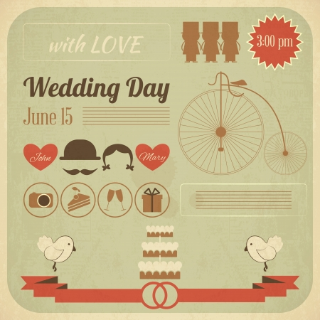 Wedding Day Invitation Card in Retro Infographics Style. Vintage Design, Square Format.  Illustration.