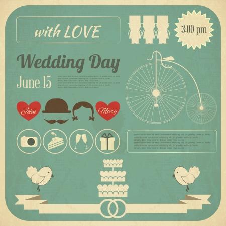 Hochzeits-Einladung in Retro Infografik-Stil. Vintage Design, quadratischen Format. Illustration.
