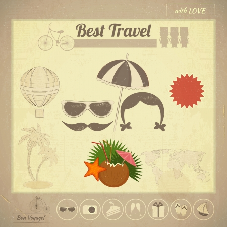Summer Travel Card in Vintage Style. Vacation Postcard with Summer Items in Retro Infographics Style Illustration.