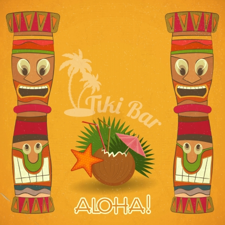 tiki party: Vintage Hawaiian Tiki bar - cocktail and Tiki totem illustration.