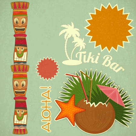 tiki party: Vintage Hawaiian Tiki postcard - invitation to Tiki Bar with place for text illustration