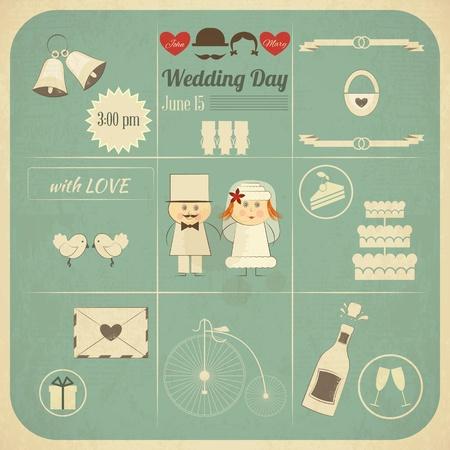 tarjeta de invitacion: Tarjeta de la invitación de la boda en Infografía Retro Style. Diseño vintage, de formato cuadrado, Wedding Set Ilustración.