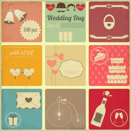 Wedding Set of Retro Cards. Vintage Design, Square Format Illustration. Vector