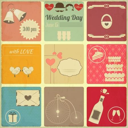 Wedding Set of Retro Cards. Vintage Design, Square Format Illustration. Stock Illustratie