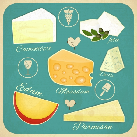 Set Vintage de fromage. Différents types de fromage sur une rétro illustration de fond.