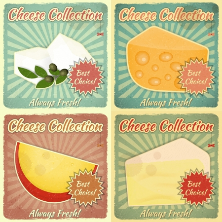 blue cheese: Vintage Set of Cheese Labels. Various Types of Cheese on a Retro Background with place for Price Illustration.
