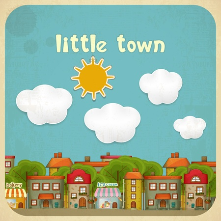at town square: Little Town. Townhouses in a retro Style. Hand Lettering.