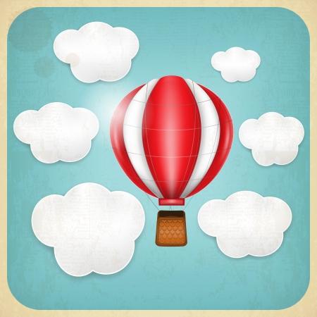 inflar: Globo de la vendimia en el cielo nublado Vectores