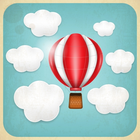 Vintage Balloon in Cloudy Sky