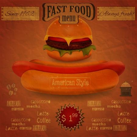 Vintage Fast Food Menu - the food on crumpled paper background - vector illustration Vector