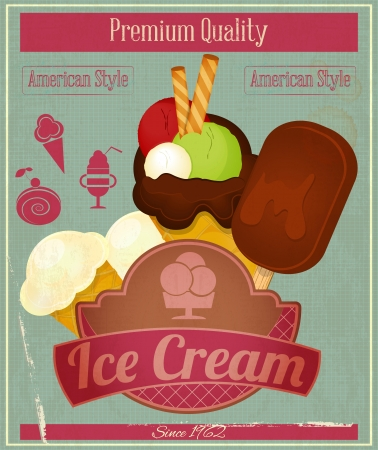 Ice Cream Dessert Vintage Menu Card in Retro Style. Vector illustration