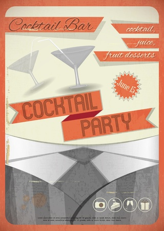 Retro card  Invitation to cocktail party in vintage grunge style  Vector illustration  Vector