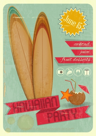 Retro Card  Invitation to Hawaiian Party for surfers, Tiki Bar  Vintage Style  Vector Illustration  Ilustração