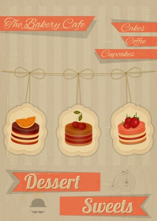 Retro Menu for the Cafe, Pastry Shop, Confectionery - Strawberry, chocolate and cherry Cake  - vector illustration Vector