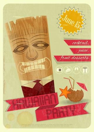 Retro Card  Invitation to Hawaiian Party, Tiki Bar  Vintage Style  Vector Illustration