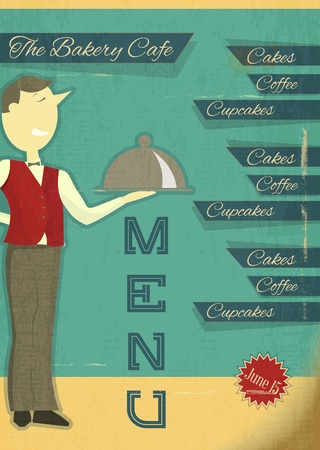 Retro Cover for Menu with Cartoon Waiter  Vector Illustration   Vector