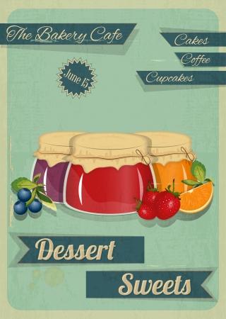 marmalade: Menu Card Confetteria in stile retr� anni sessanta - Jam marmellata dessert su sfondo Vintage - illustrazione vettoriale Vettoriali