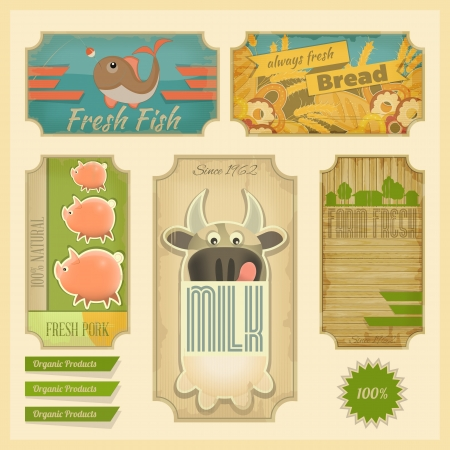 Organic Products  Vintage Labels set, Retro Farm Food Emblems  Vector Illustration  Ilustração