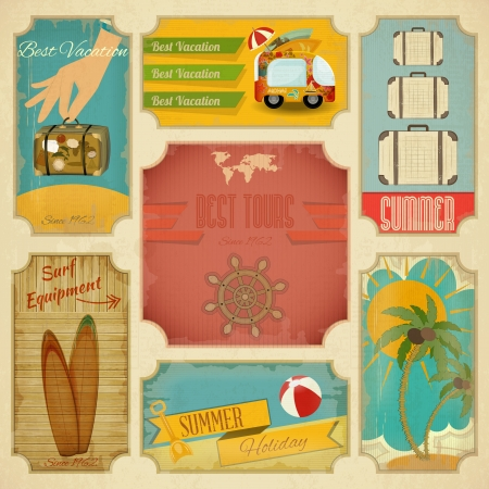 Set of Retro Summer Vacation Labels in Vintage Style  Vector Illustration