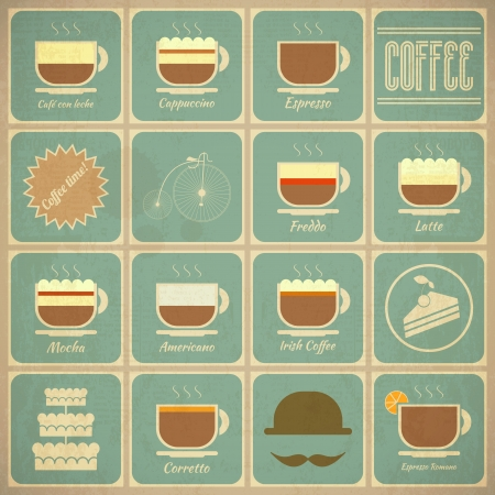 Set of Retro Coffee Labels in Vintage Style with Types of Coffee Drinks and Food Icons  Vector Illustration   Vector