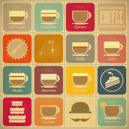 tazas de cafe: Conjunto de etiquetas de café retro en el estilo vintage con tipos de café bebidas vector Vectores