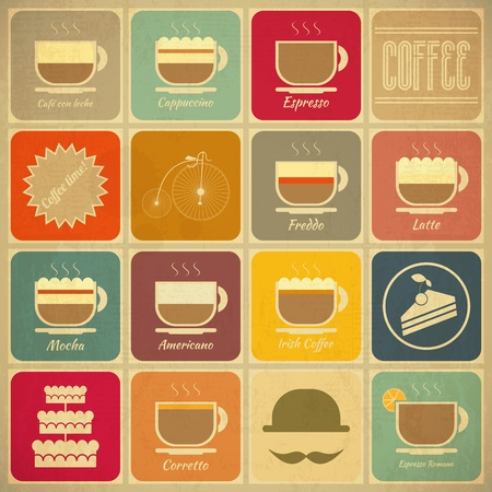 Set von Retro Coffee Labels im Vintage-Stil mit Arten von Kaffee-Drinks Vector Illustration Illustration