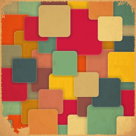 Retro Background with Colored Squares in Vintage Style  Vector Illustration  Vector