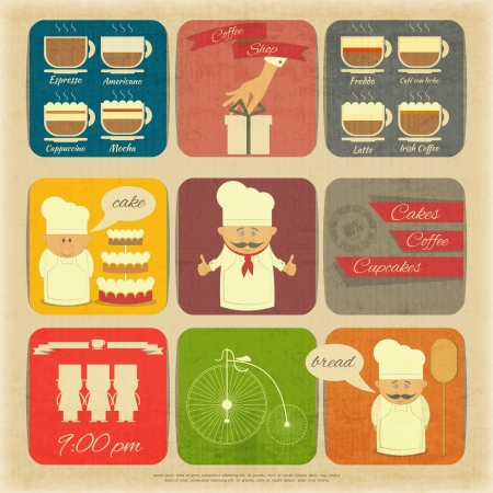 Retro Cover Menu for Cafe in Vintage Style with Types of Coffee Drinks and Graphics Icons  Vector Illustration   Vector