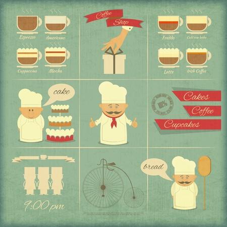 Retro-Abdeckung Menü für Bäckerei in Vintage Style mit Arten von Kaffee Getränke und Grafiken Icons Vektor-Illustration Illustration