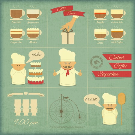 shops: Retro Cover Menu for Bakery in Vintage Style with Types of Coffee Drinks and Graphics Icons  Vector Illustration