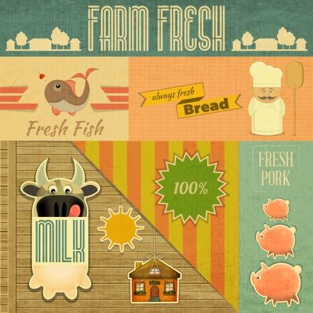 Productos agrícolas orgánicos frescos. Tarjeta Vintage, emblemas Alimentos Retro granja. Ilustración vectorial.