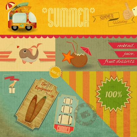 beaches: Retro Summer Card. Vacation Labels in Vintage Style. Vector Illustration.