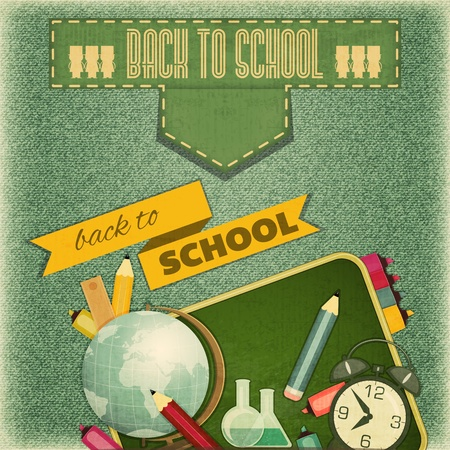 Retro Card -  Back to School Design - School Board and School Supplies on Vintage Jeans  Background - Vector Illustration Çizim