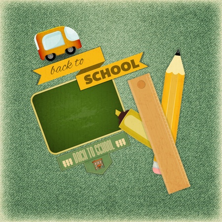 Retro Card -  Back to School Design - School Board and School Supplies on Vintage Jeans  Background - Vector Illustration Vector
