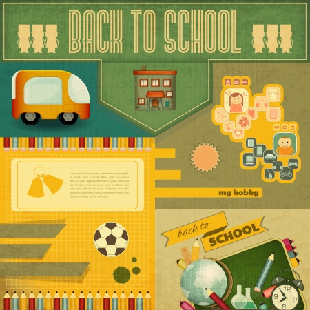 Retro Card -  Back to School Design - School Board and School Supplies on Vintage  Background - Vector Illustration Vector