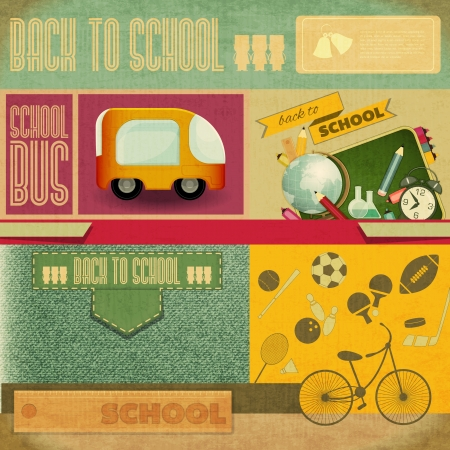 Retro Card -  Back to School Design - School Board, Sport Icons and School Supplies on Vintage  Background - Vector Illustration