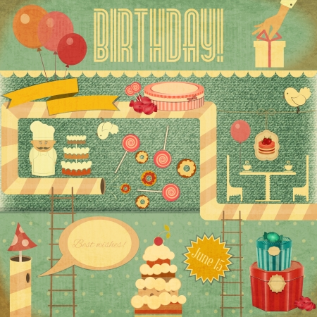 vintage postcard: Retro Birthday Card. Set of Birthday Objects in Vintage Style. Vector Illustration. Illustration